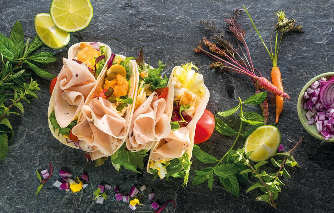 Tacos de Pechuga de Pavo sabor Trufa Negra con huevos revueltos