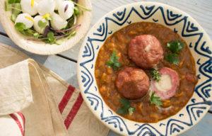 Albóndigas rellenas de de mozzarela con salsa hindú