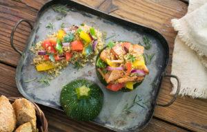 Calabacines rellenos de Pechuga de Pavo a las Finas Hierbas y quinoa