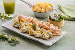 Caracolas rellenas de queso con Pechuga de Pavo sabor Trufa Negra