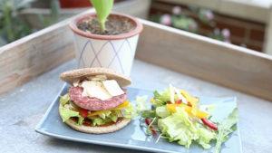 Burger Carne 100% de Pavo y Pollo con vegetales y salsa barbacoa
