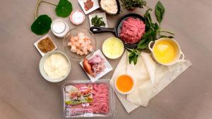 Rollitos de Picada de Cane 100% de Pavo y Pollo, con gambas y mayonesa de curry