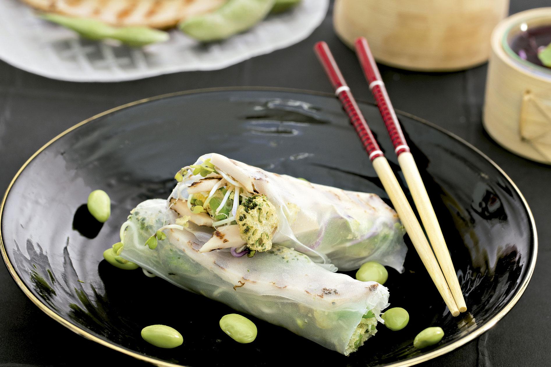 Wrap de Pechuga de Pavo a las Finas Hierbas de Un Momento y Listo, brocoli en tempura, edamame y remolacha